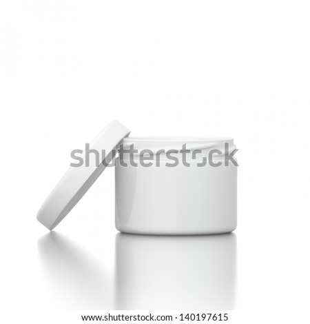 Cosmetic creme with open cap isolated on white background - stock photo