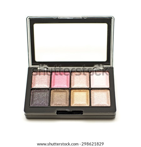 cosmetic eyeshadow palette makeup set isolated on white background