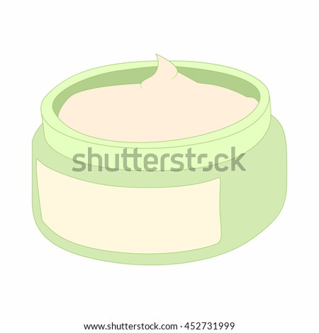 Cosmetic face cream container icon in cartoon style on a white background - stock photo