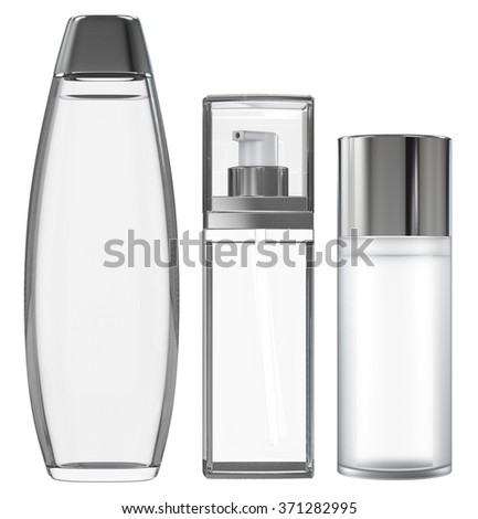 Cosmetic packaging isolated on white - stock photo