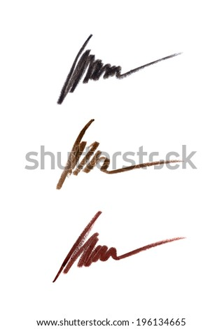 Cosmetic pencil strokes isolated on white  - stock photo