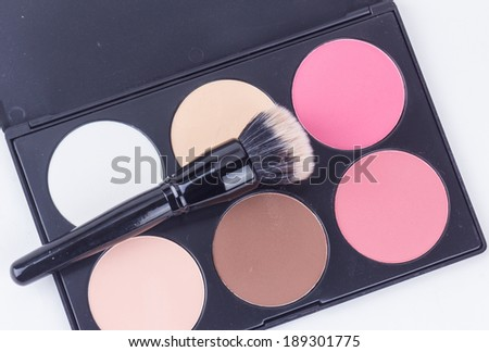 Cosmetic powder brush blush palette isolated on white