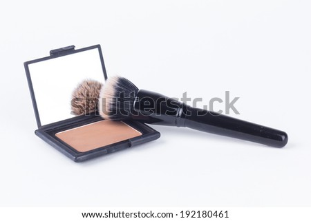 Cosmetic powder brush blush palette isolated on white - stock photo