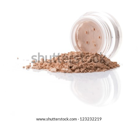 Cosmetic powder isolated on white background - stock photo