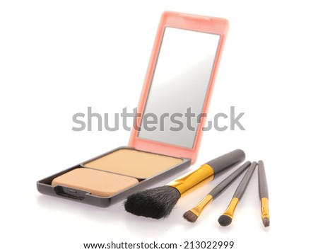 Cosmetic products isolated on a white background