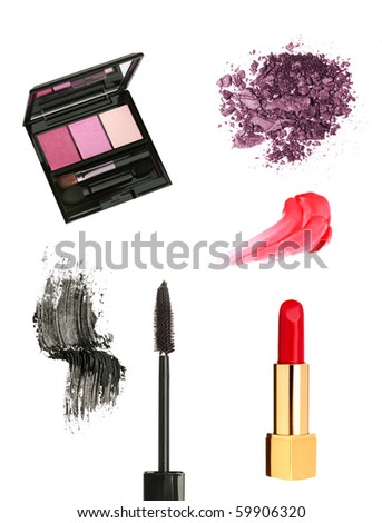 Cosmetic products isolated on white background - stock photo