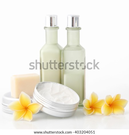 Cosmetic products on the white background - stock photo