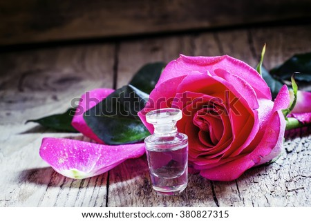 Cosmetic rose oil, selective focus