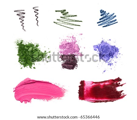 Cosmetic samples isolated on white. Lipstick, eyeshadow, pencil strokes. - stock photo