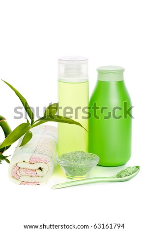 Cosmetic set and herbal salt isolated on white - stock photo