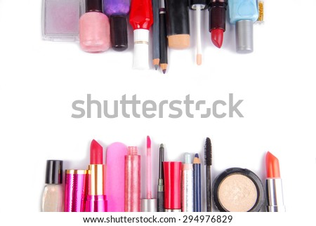 cosmetic set isoalted frame border  background - stock photo