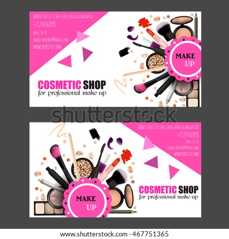Gift Voucher Card Design Set Cosmetic Illustration 467751437 – Make Voucher