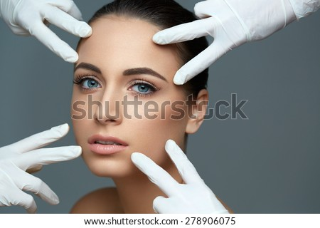 Cosmetic surgery. Beautiful Woman before Plastic Operation. Beauty Face - stock photo