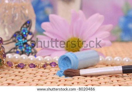 Cosmetics and Brush With Jewelry, Shallow DOF - stock photo