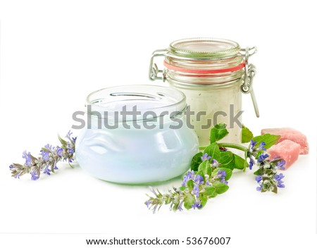 cosmetics and flower - stock photo