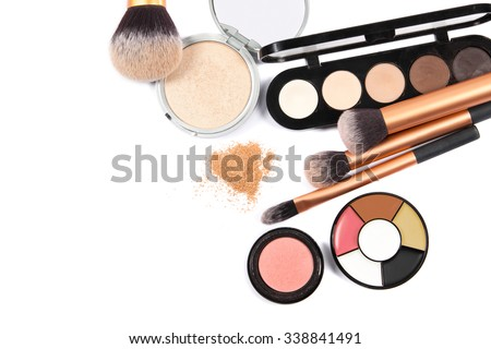 cosmetics and makeup. Tools for Professional make a top view. On a white background - stock photo