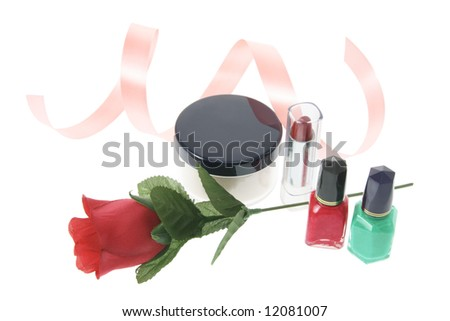 Cosmetics and Red Rose on White Background - stock photo