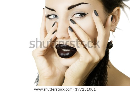 Cosmetics and visage. Beautiful girl with matte black nail polish and glamour accessory close up on white background - stock photo
