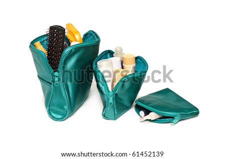 cosmetics bags isolated on a white background - stock photo