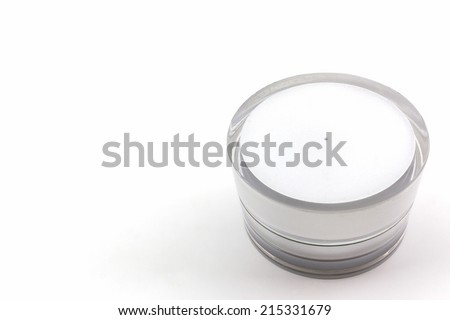 Cosmetics bottle, packaging on white background.