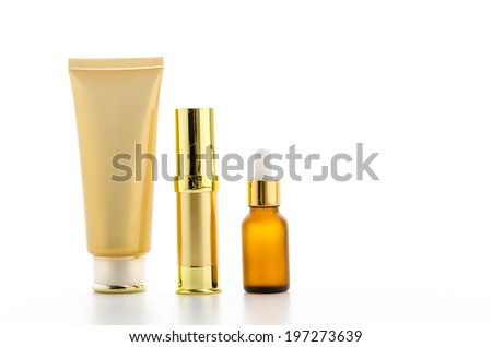 Cosmetics bottles isolated on white