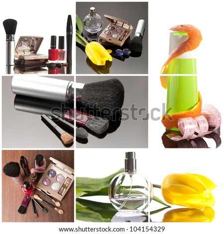 Cosmetics collage: make-up brushes, lipsticks, perfume and creams - stock photo