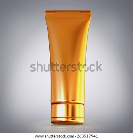 Cosmetics containers,  packaging on grey background. High resolution. - stock photo