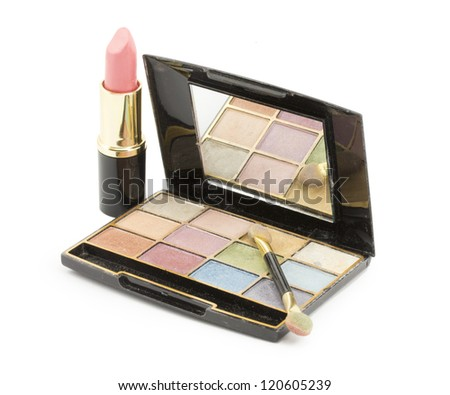 cosmetics eye shadow different colors - stock photo