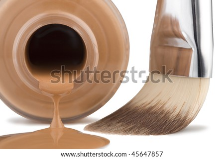 Cosmetics for face, brush, close-up on white background. - stock photo