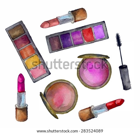cosmetics for face on a white background - stock photo