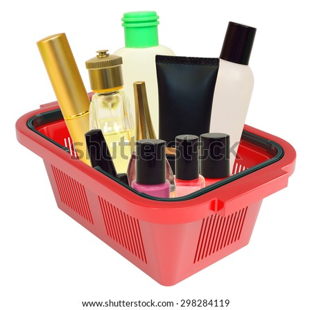 Cosmetics in shopping basket on isolated white background