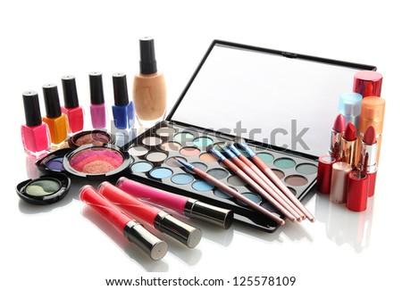 cosmetics isolated on white - stock photo
