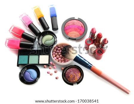 cosmetics isolated on white - stock photo