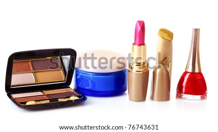 Cosmetics isolated on white