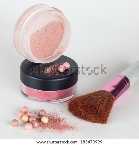 Cosmetics - Makeup foundation powder and brush