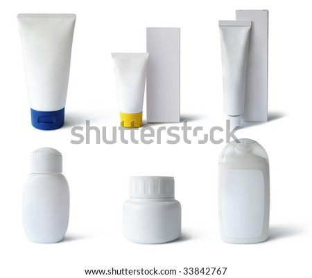 Cosmetics, medical packs and containers: tubes, boxes, flacks. Add text or label. Isolated, clipping path, shadow - stock photo