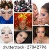 Cosmetics; model with many different make ups - stock photo