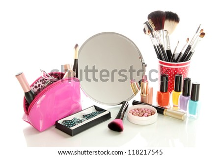 cosmetics near mirror isolated on white - stock photo