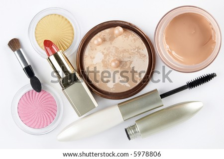 Cosmetics on the white background - stock photo