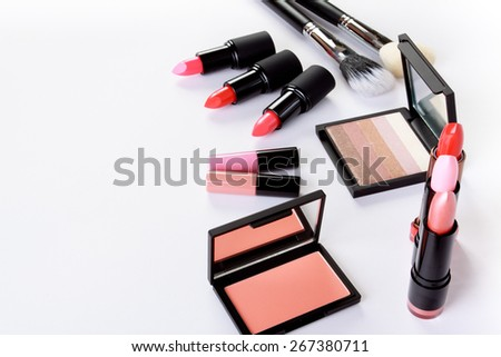 Cosmetics on white background - stock photo