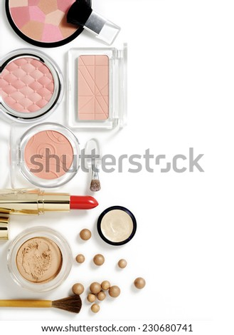cosmetics on white with light shadows - stock photo
