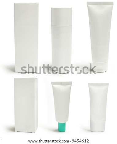 Cosmetics packs and containers: tubes, boxes, sprayers. Add text or label. Isolated, shadow - stock photo