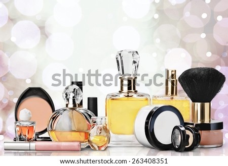 Cosmetics. Perfume and make-up, beauty concept - stock photo
