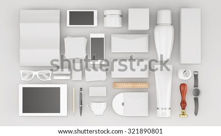 Cosmetics products templates.Corporate identity: blank, business cards, disk, envelope, smart phone, pen, badge, cup, brand-book, bottle, tube. - stock photo