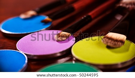 Cosmetics professional brush set closeup photo