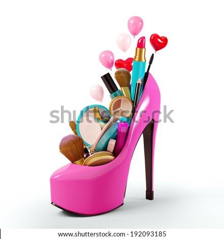 Cosmetics set into a woman's shoe. Fashion illustration - stock photo