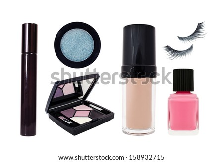 Cosmetics set isolated on white background - stock photo
