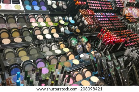 Cosmetics shop with great variety of products. Concept of consumerism, retail and purchase - stock photo