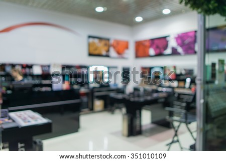 cosmetics store blur background. abstract blur group of cosmetics