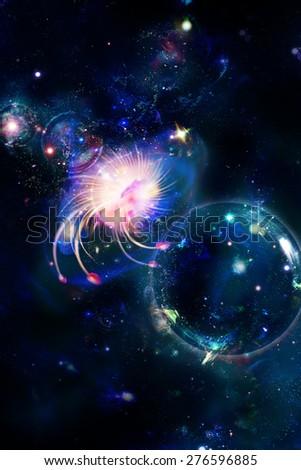 Cosmic anomaly, digital drawing - stock photo